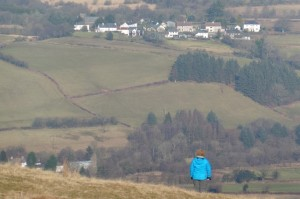 Me standing on Black mountain looking out on the village of Gwynfe